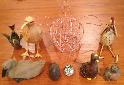 Part of Huge Bird Collection Hand made, straw, imported, ceramic, pottery, metal