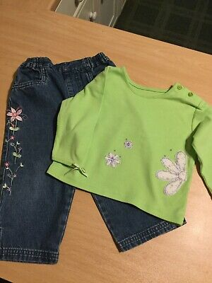Girls Top and Trousers Green/Blue Set Age 12-18 Months