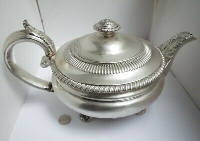 Superb V Large Heavy English Antique Georgian 1826 Solid Sterling Silver Teapot