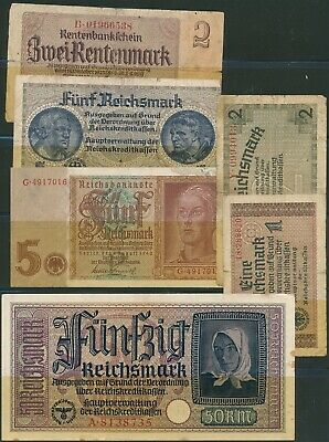 Lot Currency Germany WWII Nazi Era Reichsmark Selection Circulated Poor 6