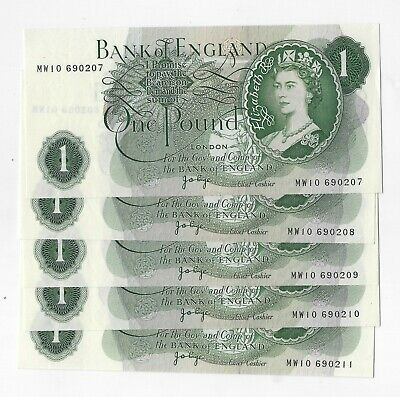 J.B. Page £1 Pound Banknote (1970-78) Replacement Unc From Consecutive Run B323
