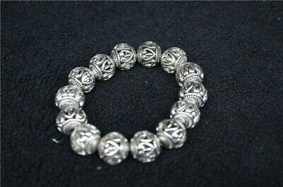 China old Tibetan silver Carved Hollow bead headed Silver Bracelet