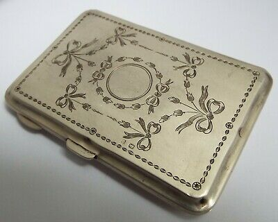 Lovely Decorative English Antique 1910 Solid Silver Card Case & Aide Memoire