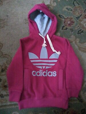Girls Adidas Long Sleeve Hoodie Pink And Grey Design - Size 116