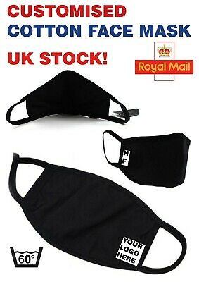 Customised Initials Or Logo Washable Black Face Mask - No Mix Ups! Uk Seller