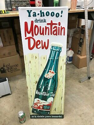 """MOUNTAIN DEW"" LARGE, EMBOSSED METAL ADVERTISING SIGN (42""x 14"") MINT CONDITION"