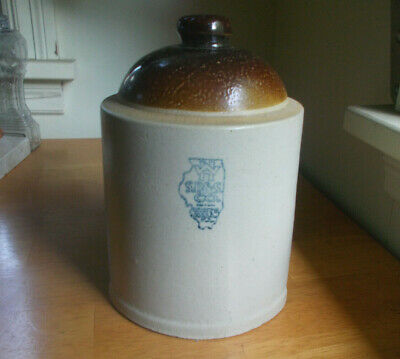 """White Hall,Ill Stoneware Chicken Waterer 8 1/2""""Tall Early 1900 Illinois Pottery"""