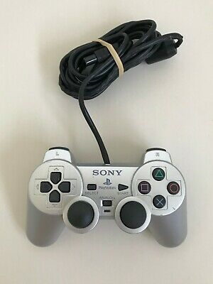 Official Sony PlayStation 2 DualShock Controller PS2 - Silver - Tested & Working