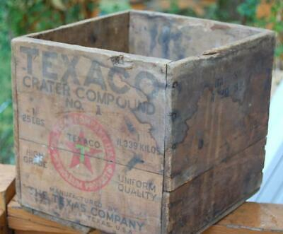 Rare The Texas Co. Texaco Crater Compound Wood Advertising Shipping Crate Oil