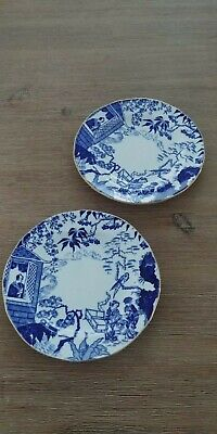 """2 ROYAL CROWN DERBY BONE CHINA BLUE MIKADO SIDE Bread and Butter PLATES 6"""""""