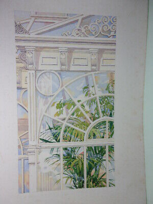 Vintage Watercolour, 'Conservatory With Tropical Palm Tree'