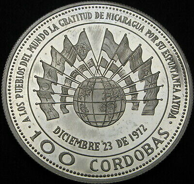 NICARAGUA 100 Cordobas 1975 Proof - Silver - Earthquake Relief issue - 1630 ¤