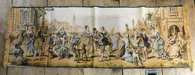 "Vtg Made in Belgium Tapestry Venice Scene 19"" x 53"" Men Women Dogs Antique"