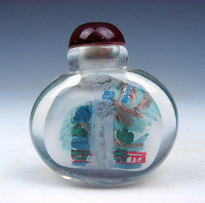 Peking Glass Inside Reverse Hand Painted China Waterfall Snuff Bottle #01021610