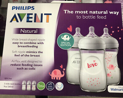 Philips Avent Natural Baby Bottle with Pink Elephant design, 9oz, 3pk, SCF659/37