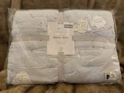 POTTERY BARN BABY KIDS STELLA TENCEL TODDLER CRIB QUILT BABY BLUE 🦉 🌟 🌙 Owl