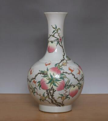 38CM Yongzheng Signed Antique Chinese Famille Rose Porcelain Vase w/peaches