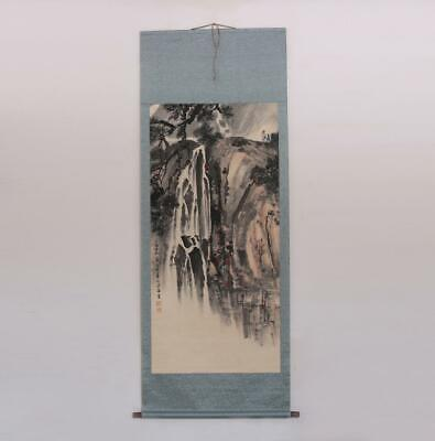 Song Wenzhi Signed Old Chinese Hand Painted Calligraphy Scroll Landscape