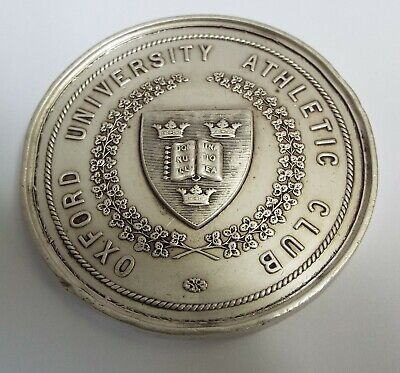 Large Heavy English Antique 1899 Solid Silver Oxford University Athletics Medal