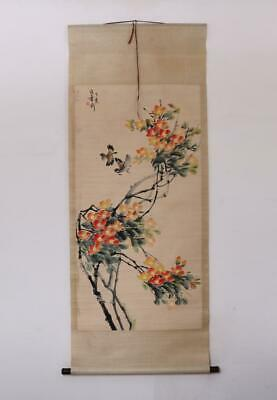 Zhang Shuqi Signed Old Chinese Hand Painted Calligraphy Scroll w/Flower