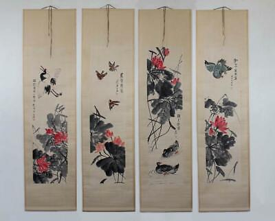 Qi Baishi Signed Four of Old Chinese Hand Painted Scroll w/Louts flower