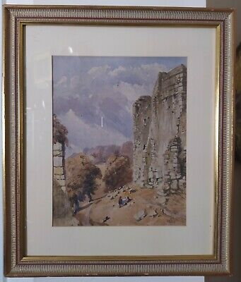 Signed Early 19th C English Landscape Topographical Painting dated 1843.
