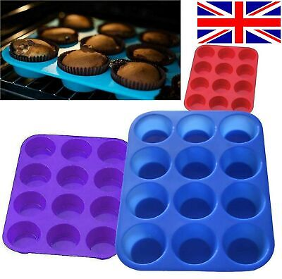 12 Large Silicone Muffin Yorkshire Pudding Mould Cupcake Baking Tray Bakeware