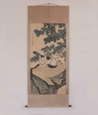 Xu Beihong Signed Old Chinese Hand Painted Calligraphy Scroll w/Cat