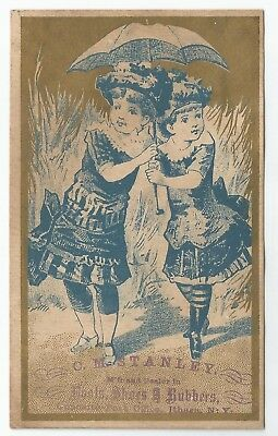Antique 1880s C. M. Stanley Boots & Shoes Victorian Girls Trade Card Ithaca, NY