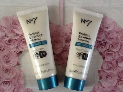 No7 protect & and perfect intense advanced day  creams New 25 ml. X 2.