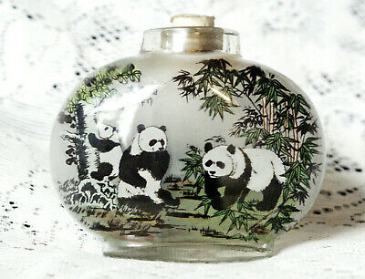 Vintage Reverse Glass Painted Oval Snuff / Scent Bottle Signed Pandas 6.5cm Tall