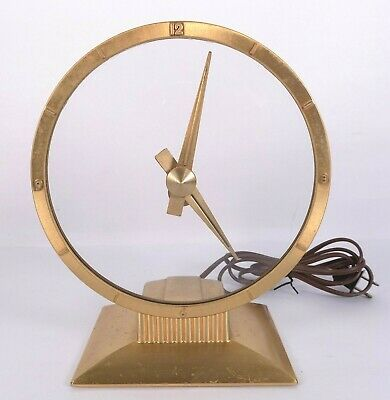 Vintage Jefferson Golden Hour Mystery Dial Clock • Works Great • MCM