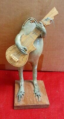 Vintage Taxidermy Bull Frog with Guitar Novelty Oddity Figurine Sculpture