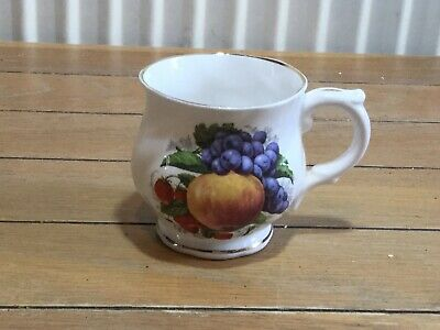 Holly Barn fruit patterned bone china cup, made in England