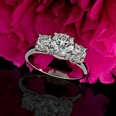 Three Stone 1.24 Carat Round Cut Natural Diamond Engagement Ring 14k White Gold