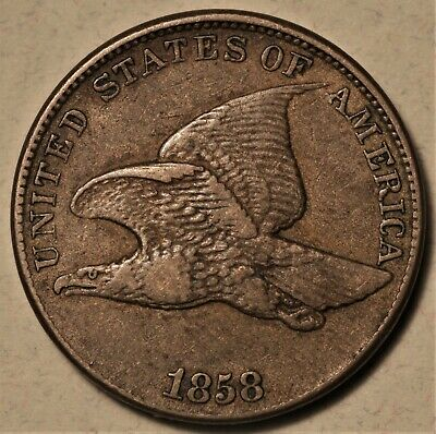 1858SL Flying Eagle Cent Nice Orig XF Never Cleaned, Scarce Variety No Reserve