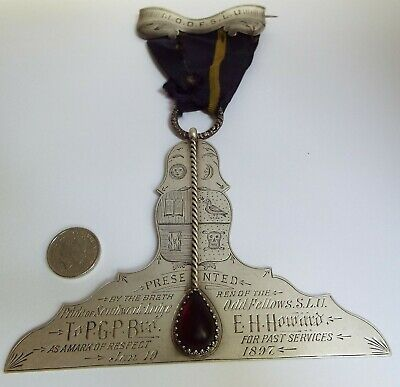 Fine Very Large English Antique Victorian 1896 Solid Silver Masonic Medal Jewel