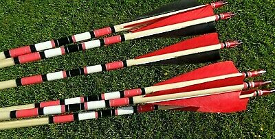 Six Wooden Traditional Archery Arrows Longbow-Recurve-Flatbow Horsebow 40/45#