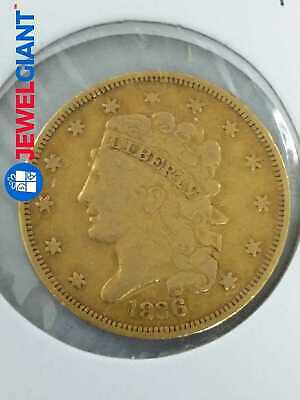 1836 US GOLD $5 CLASSIC HEAD COIN HALF EAGLE VERY RARE HARD TO FIND #bk497