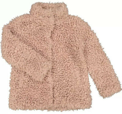 Girls Dusky Pink Faux Fur Coat Jacket Aged  11-12 Years BNWT