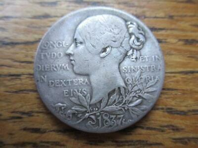 British Silver Medallion 1837 -1897 Jubilee Queen Victoria young head - old head