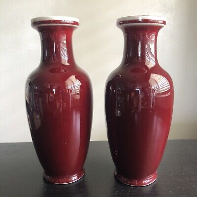 """20th C PAIR 10""""T Chinese Jingdezhen Oxblood Red Porcelain Vases Sang de Beouf NR"""