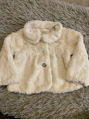 Girls White Fluffy Coat Age 9-12months Cleat Sparkly Buttons Warm Cosy Winter