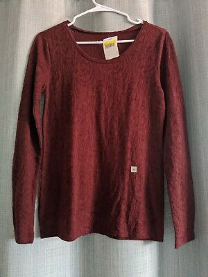 LOFT Stretch lace Pullover Long Sleeve Deep Red Top, XS