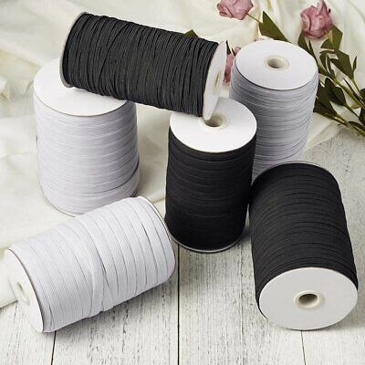 FLAT CORDED ELASTIC 6mm 1/4 INCH BLACK & WHITE use for Sewing Making Face Masks