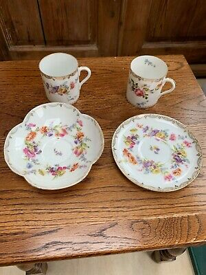 Floral cup and saucer set x2