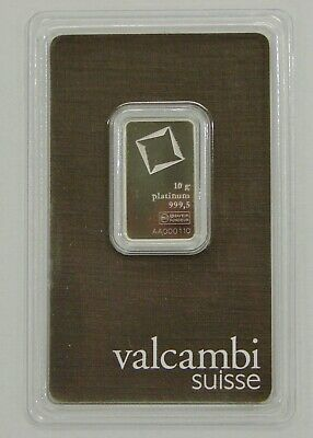 Valcambi Suisse 10 Gram 999.5 Fine Platinum Bar - Sealed w/ Assay Card