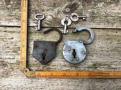 2 x Antique Vintage Spring Loaded Unusual Padlocks