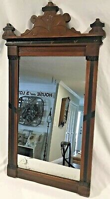"""Antique 19th Century Carved Incised Eastlake Victorian Wall Mirror - 32"""" x 18"""""""