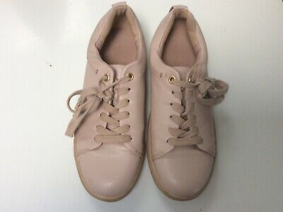 Ladies Girls Topshop Lace Up Shoes Trainer Style Pink Cream Size 3 Eur 36 Vgc
